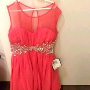B. Darlin gorgeous prom dress with rhinestones